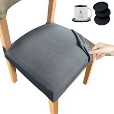 Stretch Spandex Jacquard Chair Seat Covers, 4 Pieces With Elastic Tie and Button