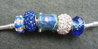 5 Blue Mix Glass Sparkle Rhinestone Animal Beads, fit European Charm Bracelet
