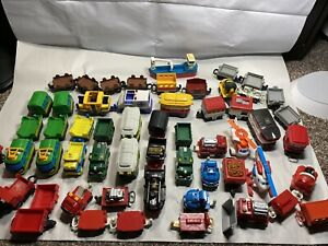 Huge Lot Of Fisher Price GeoTrax Battery And Push Trains/ Helicopter/EMS