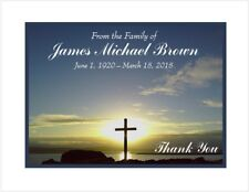 12 Sympathy Personalized Thank You Cards ~ Sunset with Cross