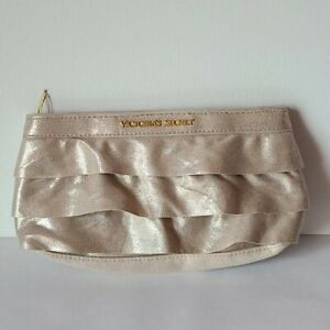 Victoria's secret Gold Ruffled makeup Case Cosmetic bag Zip Up Cloth Sparkly
