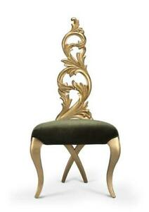 Gold Leaf Chair In Green Velvet