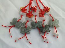 Lot of 5 Chinese Zodiac Butterfly Knot Jade Cell Phone Charm Strap Red DOG