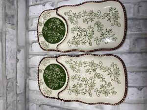 Temp-tations by Tara Ovenware Green and Brown Floral Lace Soup And Salad Plates