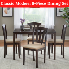 5-Piece Modern Dining Table Set 4 Chairs Wood Kitchen Room Breakfast Furniture
