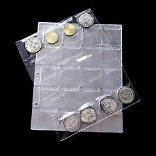 20/30/42 Pockets Clear Plastic Coin Holder Storage Collection Money Album Case