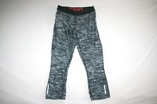 Nike Running Tights Dri Fit Cropped Women S Black Gray NEW