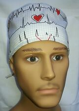 SURGICAL SCRUB HAT THEATRE CAP EKG ECG HEARTBEATS QRS COMPLEX WHITE TIE IN BACK