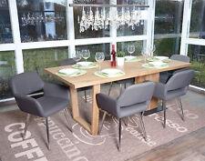 6x chaise salle à manger HWC-A50, design rétro, cuir synthétique ~gris
