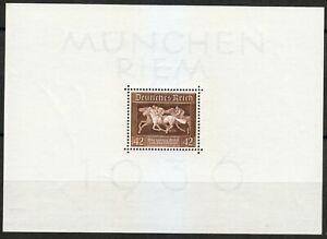 Germany 1936 MNH Mi Block 4 Sc B90 Munchen Riem.Horse Race ** white paper