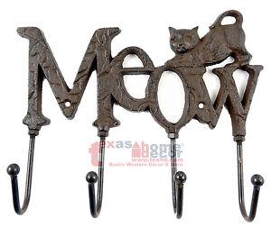 """Cat Key Rack """"MEOW"""" Kitty Hooks Coat Holder Cast Iron Pet Lover Gift Decor"""