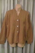 VINTAGE CLASSIC ~ OZ KNITS  ~ Camel Textured CARDIGAN /TOP  * Size M  *