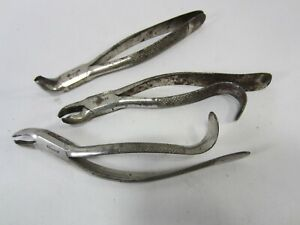 3 Antique Tiemann (Gothic Script) Dental Forceps- Tooth Extractors   M#408