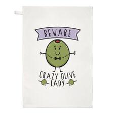 Fai attenzione Crazy Oliva LADY asciugamani Dish Cloth-Divertente Vegan Cibo Vegetariano