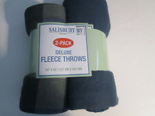 "2 Deluxe Fleece Throws 50"" x 60"" New in package"