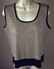 MING WANG Sleeveless TOP M Beige/Black MEDIUM Knit Shirt Shell