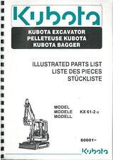 Kubota Excavator KX61-2 Parts Manual - SER NO 60001-
