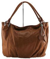 borsa elegante da spalla donna con manici vera pelle made in italy cuoio 6016