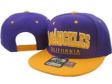 NEW VINTAGE LOS ANGELES FLAT BILL SNAPBACK BASEBALL CAP 3D EMBROIDERYPURPLE/GOLD