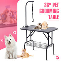 "36"" Adjustable Pet Dog Cat Grooming Table Trimming w/Arm & Noose & Mesh Tray"