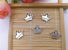 Wholesale 16Pcs Tibet Silver Crown Charm Pendant Beaded Jewelry