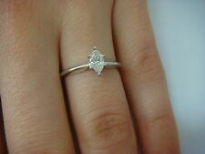 PLATINUM 0.25 CARAT MARQUISE DIAMOND CLASSIC DESIGN ENGAGEMENT RING, SIZE 5.5