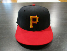 New Era Pittsburgh Pirates Fitted Hat Cap Size 6 3/4 Black Red Baseball Wool Men