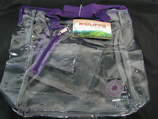 K-Cliffs Heavy Duty Clear Purple Trim Tote Messenger Bag School Bag