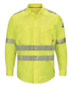 Lot 2 Bulwark IQ Series Endurance Mens Flame Resistant Hi-Visibility Shirts XL