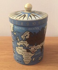 Vintage ~ Blue & Gold Mercator Canister ~ Map Tin ~ World Map~ Time & Compass