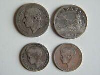 Lote 4 monedas de 2 y 1 peseta de Plata Alfonso XII y XIII