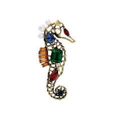 Brooch Pin Jewelry Blue Hippocampus Women Elegant Fashion Crystal Rhinestone Big