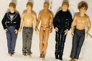 Boy Male Doll Lot Of 5 Justin Bieber Ken Boy Band As Is Mattel Hasbro Barbie Toy