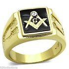 316 Stainless Steel Masonic Mason Black Enamel Clear Crystal Men Ring Size 9