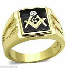 316 Stainless Steel Masonic Mason Black Enamel Clear Crystal Men Ring Size 10