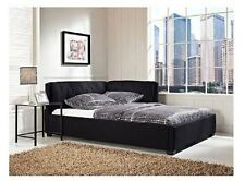 Adult Daybed Full Size Bed Frame with Headboard Padded Bedroom Furniture Black