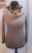 ESPRIT Pullover M 40 mit Wolle und Seide  Rollkragen Longpullover grau /braun
