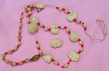 Vintage Art Deco Uranium Glass Bead Neiger Czech Elephant Bead Necklace As Is