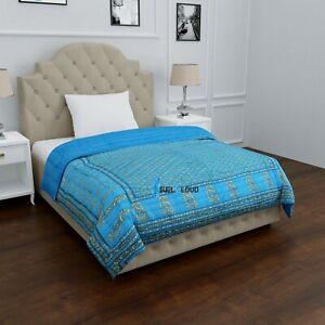 Jaipuri Razai Blue Gold Soft Blanket Floral Print Quilted Throw Quilt Comforter