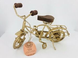 Zimlay Eclectic Bicycle Statue Distressed Gold with Wood Handles/Seat Great Gift