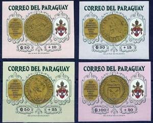 PARAGUAY 1964 VATICAN GOLD COINS SC#B12-15 RARE imperforated MNH CV