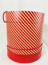 Vintage Antique Large Hat Box Red White Candy Cane Striped Christmas Prop Tall