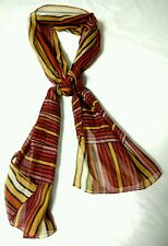 Women's Scarf  Autumn Fall Orange Rust Gold Stripes Sheer Long Made In Italy