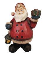 "Large Resin Santa Bobble Head Holding a Gift & Lantern 13"" Tall"