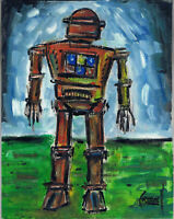 ROBOT MENACE 8x10 panel retro mech art oil painting original signed CROWELL