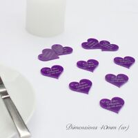 Personalised 4cm Purple Love Heart Wedding Favours for Invitations or Decoration