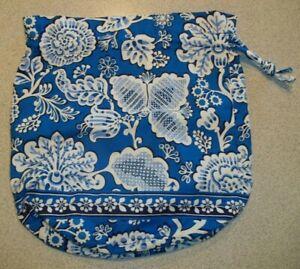 VERA BRADLEY DIDDY BAG BLUE LAGOON PATTERN DRAWSTRING CLOSURE WHITE BLUE FLORAL