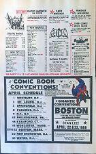 1988 - APRIL COMIC BOOK CONVENTION Promo Ad Schedule- Comic-Con Stan Lee