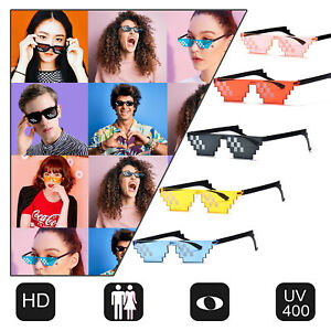 Thug Life Sunglasses Men Women 8 Bits Pixel Props Mosaic Fashion Glasses Unisex