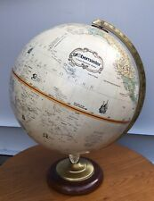 "12"" Replogle Globemaster World Globe Raised Relief 3D Wooden Hardwood Base"